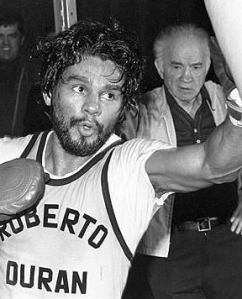 "Roberto Duran, the original Manos de Piedra or ""Hands of Stone"" – great for boxing, not so great for catching a slippy rugby ball."