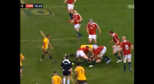 First Test, Ruck 48, 18:44 on the match clock. Jamie Heaslip goes in for a strong attempt at the jackal, but is blasted out of it by Ben Mowen. It's probably just as well, as referee Pollock decided to play by his own personal laws of the game that day, and the Lions didn't win a single ball over 80 minutes through jackalling.