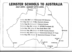 The 1995 Leinster Schools tour of Australia itinerary [click to embiggen]: 8 games in 6 cities in a month  with a squad of 27 players.