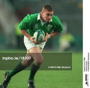 Cieran Scally makes a break for Ireland in November 1998. Only a couple of months out of his teenage years, Scally's first two appearances at international level saw him score a couple of tries, but even at that stage he wasn't operating at 100% fitness. His injury opened the door for year-mate Peter Stringer – his stylistic opposite as a scrum-half – and the Munster man went on to have a brilliant international career [photo credit: Billy Stickland/INPHO].