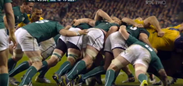 Ireland's right side of the scrum fragments, turning the ball over. Look at the composition of it though: Ross is in a decent position to push, but O'Mahony isn't giving him anything on the right and O'Connell's bind has already broken. It's like taking a drill to the mechanic and telling him the plug is broken because it won't work. Maybe it is the plug that's broken; then again, maybe the power cord is buggered and the plug itself is fine; or maybe it's the drill motor that's f*cked, and the plug and the cord are both in perfect working order. It's not always the plug's fault if the machine doesn't work.
