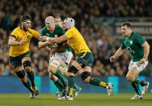 O'Connell charges into contact against Australia. Ireland's captain had a mixed day – he's a player whose effort you can never, ever fault, but some of his skills and decisions weren't the best.