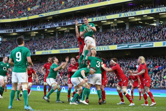 Devin Toner goes high to claim one of the six lineouts he took against Wales. The lineout was the most important set-piece of the game, and dominance in the air paved the way for a resounding Irish victory.