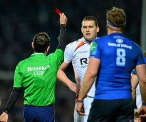 Romain Poite shows Ian Evans a red card for stamping on Mike McCarthy's head. Evans' subsequent 12-week ban has had significant repercussions for Warren Gatland's Wales.