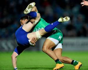 Jamie Heaslip gets stuffed by Connacht's Bundee Aki.